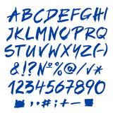 Fototapety Blue vector alphabet written with a brush.