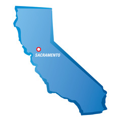 Vector drawing map of California and Sacramento.