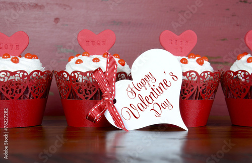 Valentine red velvet cupcakes on wood background - 76227282