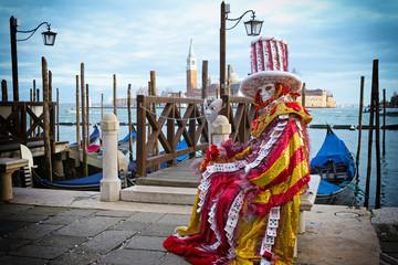 Cards carnival mask in Venice - Venetian Costume