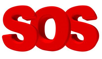 Sos emergenza parola 3d rossa, isolata su fondo bianco