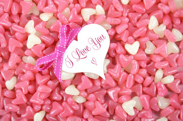 Pink and white heart shape Valentine jelly candy