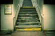 Grungy urban staircase in New York City subway