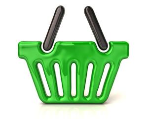 Green shopping basket icon