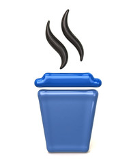 Blue takeaway coffee cup icon