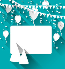 Celebration card with party hats, balloons, confetti and hanging