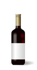 Illustration red wine bottle with label
