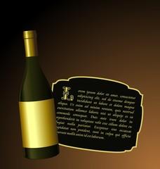 Illustration the elite wine bottle with white gold label