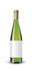 Illustration white wine bottle with label