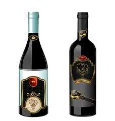 Illustration of set wine bottle with label