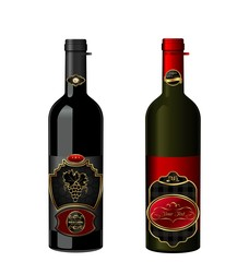 Illustration of wine bottles with attached vintage labels