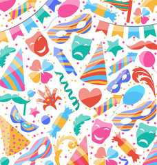 Festive wallpaper with carnival and party colorful icons and obj
