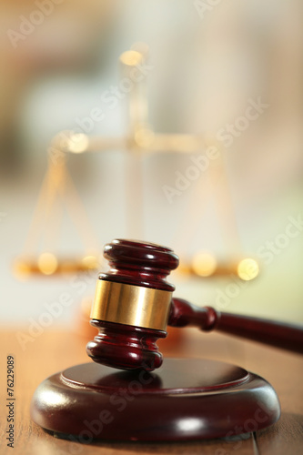canvas print picture Wooden judges gavel on wooden table, close up