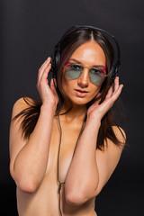 Girl in stereo headphones