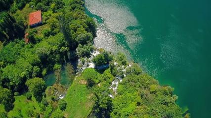 Above the Roski Slap waterfall, aerial shot