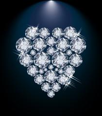 Love diamond heart, valentines day card, vector