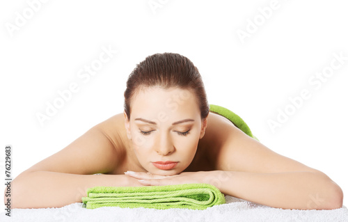 canvas print picture Girl on a stone therapy, hot stone massage