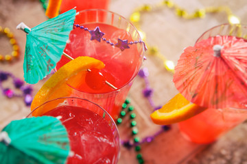 Mardi Gras: Fruity Hurricane Drink With Fun Garnish