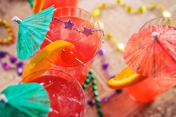 Mardi Gras: Fruity Hurricane Drink With Fun Garnish