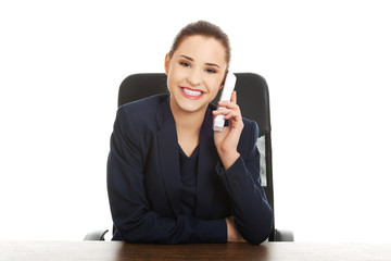 Smiling cheerful support phone operator