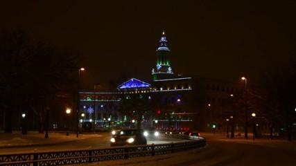 Denver civic center Christmas lights fading into focus
