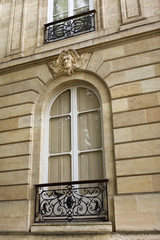Facade of a classic French mansion in Bordeaux