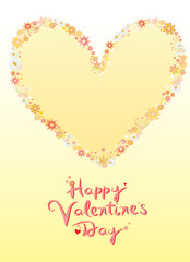 Valentine card theme with heart and flowers