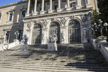 Main entrance, National Library of Madrid, Spain. architecture a