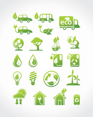 Alternative energy sources. Eco icons, vector set.