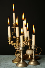 Retro candlesticks with candles