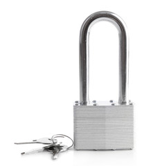 Padlock with keys isolated on white