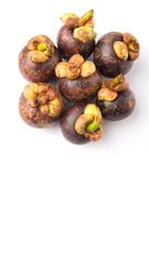 Ripe mangosteen fruit over white background