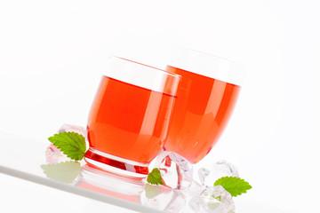 Glasses of fruit flavored drinks