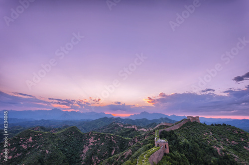 Keuken foto achterwand Beijing skyline and great wall during sunrise