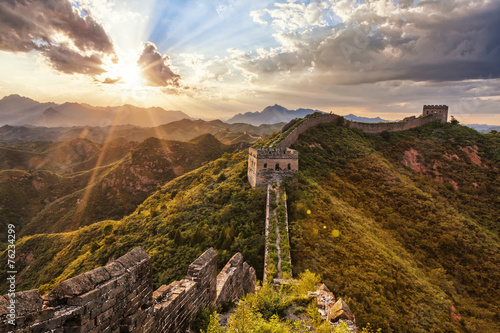 Foto op Canvas Beijing skyline and great wall during sunrise