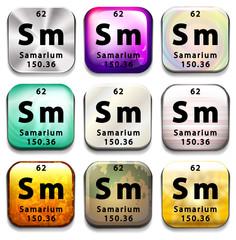 A periodic table button showing Samarium