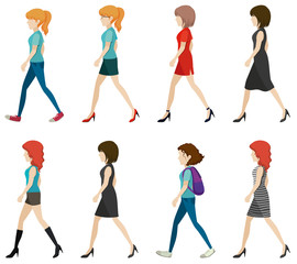 Faceless ladies walking in one direction