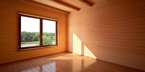Комната в деревянном доме на берегу пруда