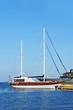 Vintage wooden yacht over harbor pier, Odessa, Ukraine