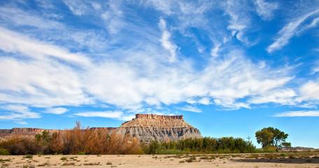 Desert panorama  landscape, red  Mesa hills in Utah