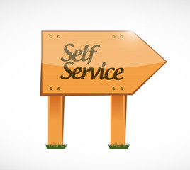 self service wood sign illustration design