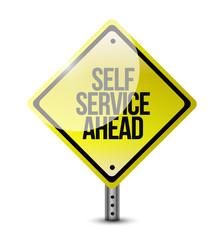 self service ahead street sign illustration