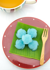 The rose kind of Thai sweetmeat on banana leaf