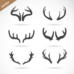 Vector antler icon set on white background