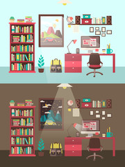personal workplace concept in flat design