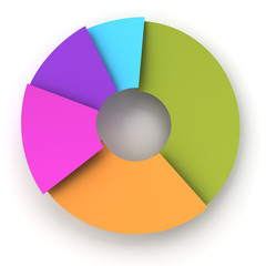 Colorful paper pie chart, 3d render