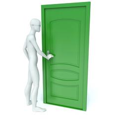 3d man opens a green door