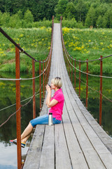 Pedestrian suspension bridge of steel