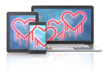 Heartbleed bug symbols on gadgets