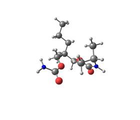 Carisoprodol molecule isolated on white